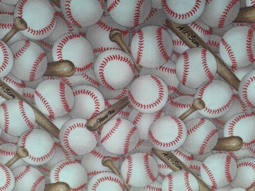 New-100/% Cotton Elizabeth Studios Home Run Baseball /& Bat Design   FQ to Yd