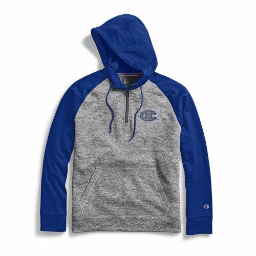 Champion Men/'s Stadium Fleece Quarter Zip Hoodie Clear Gloss C Logo
