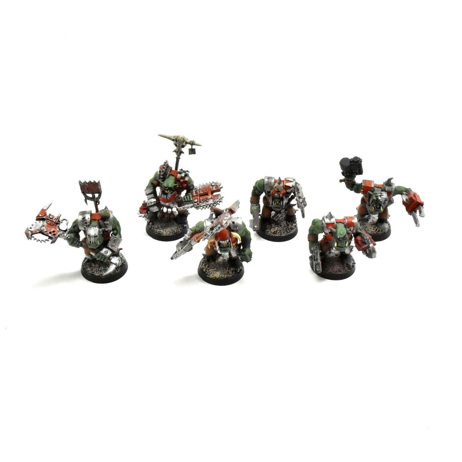 ORKS 6 nobz nob Well PAINTED Warhammer 40K - arbete