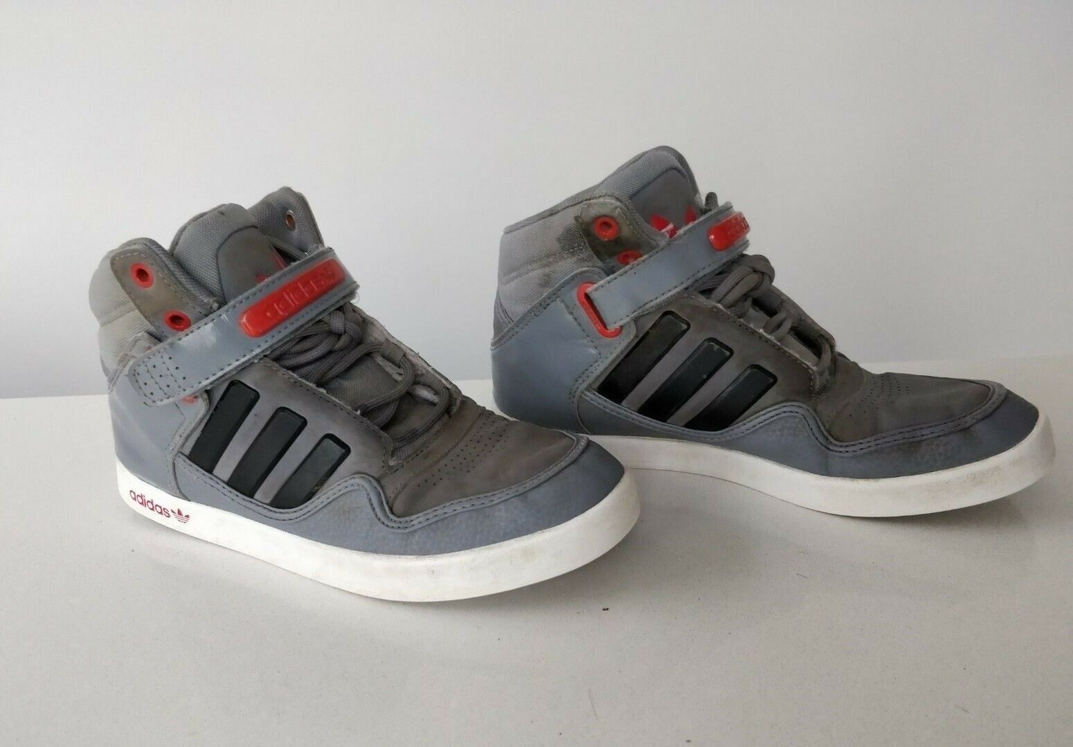 Mens Adidas grey black stripe lace grey hi high top trainers shoe UK 5.5 EU 38.6