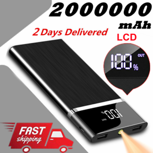 Fast Charger 900000mAh Power Bank 2USB LCD&LED Portable External Battery Charger
