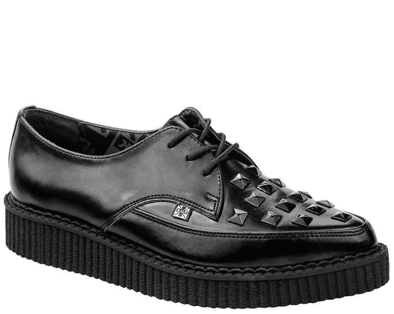 T.u.k a8833 Black Leather Big Black Pyramid Stud Front tie poited Creeper