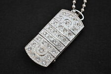 Swarovski Elements/Crystal Jewellery 16GB USB in Silver with Necklace&gift Pouch