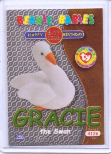 Ty S2  Beanie Card-Happy Birthday GRACIE SWAN GREEN