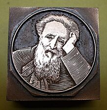 """SALVATION ARMY FOUNDER """"WILLIAM BOOTH"""" PORTRAIT. PRINTING BLOCK."""