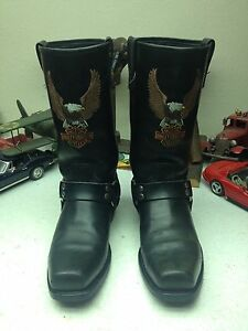 c15574ed953 Details about SQUARE TOE USA HARLEY-DAVIDSON SCREAMING EAGLE BLACK LEATHER  HARNESS BOOTS 9 D