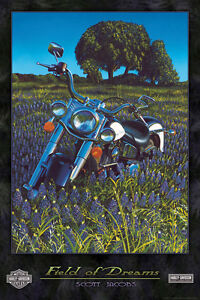 "Harley Davidson ""Field of Dreams"" Scott Jacobs Laminated Art 
