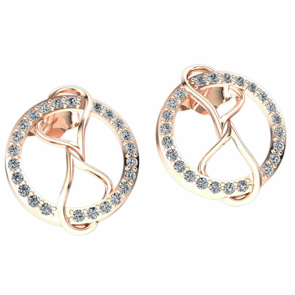 Genuine 0.3ct Round Cut Diamond Ladies Circle Hearts Earrings Solid 14K gold