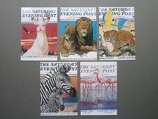 5 X C1990'S PC SATURDAY EVENING POST COVERS WITH GORGEOUS WILDLIFE DESIGNS - USA