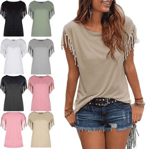 Women Ladies Fringe Summer Loose Top Short Sleeve Blouse Casual Tops T Shirt UK
