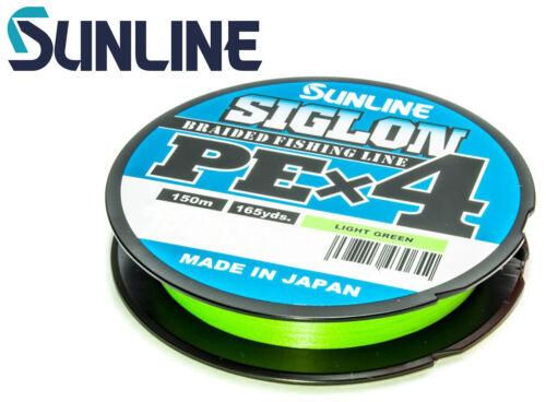 0,11€//1m Sunline Siglon PE X4 Light Green 150m Geflochtene Schnur Angelschn