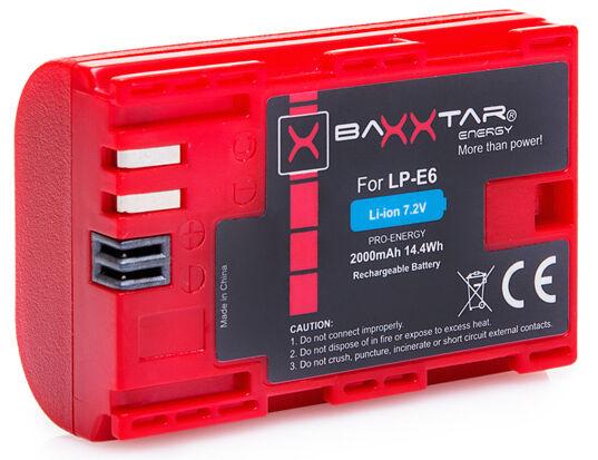BAXXTAR Akku Canon LP-E6 mit Infochip für Canon EOS 70D 60D 60Da 7D Mark II 6D