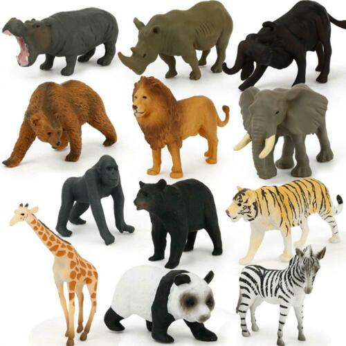 12PCS Wild Animals Zoo Safari Farm Child Kids Loot Party Bag Filler Plastic Toy