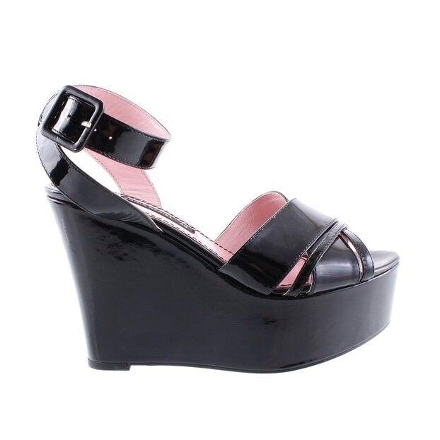 Sonia Rykiel pour H  &M Wedge Sandals in nero Patent Leather Dimensione US 7 EUR 38  negozio fa acquisti e vendite