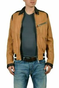 Just-Cavalli-Men-039-s-Multicolor-100-Leather-Full-Zip-Casual-Jacket-US-S-IT-48