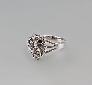 9927443 925er Silber Granat Markasiten Ring Eule Uhu Gr.56/57