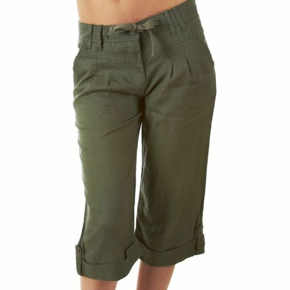 EX FAT FACE KHAKI LINEN VINTAGE WASH ROLL UP CROPPED TROUSERS 3 4 SHORTS  SIZE 6