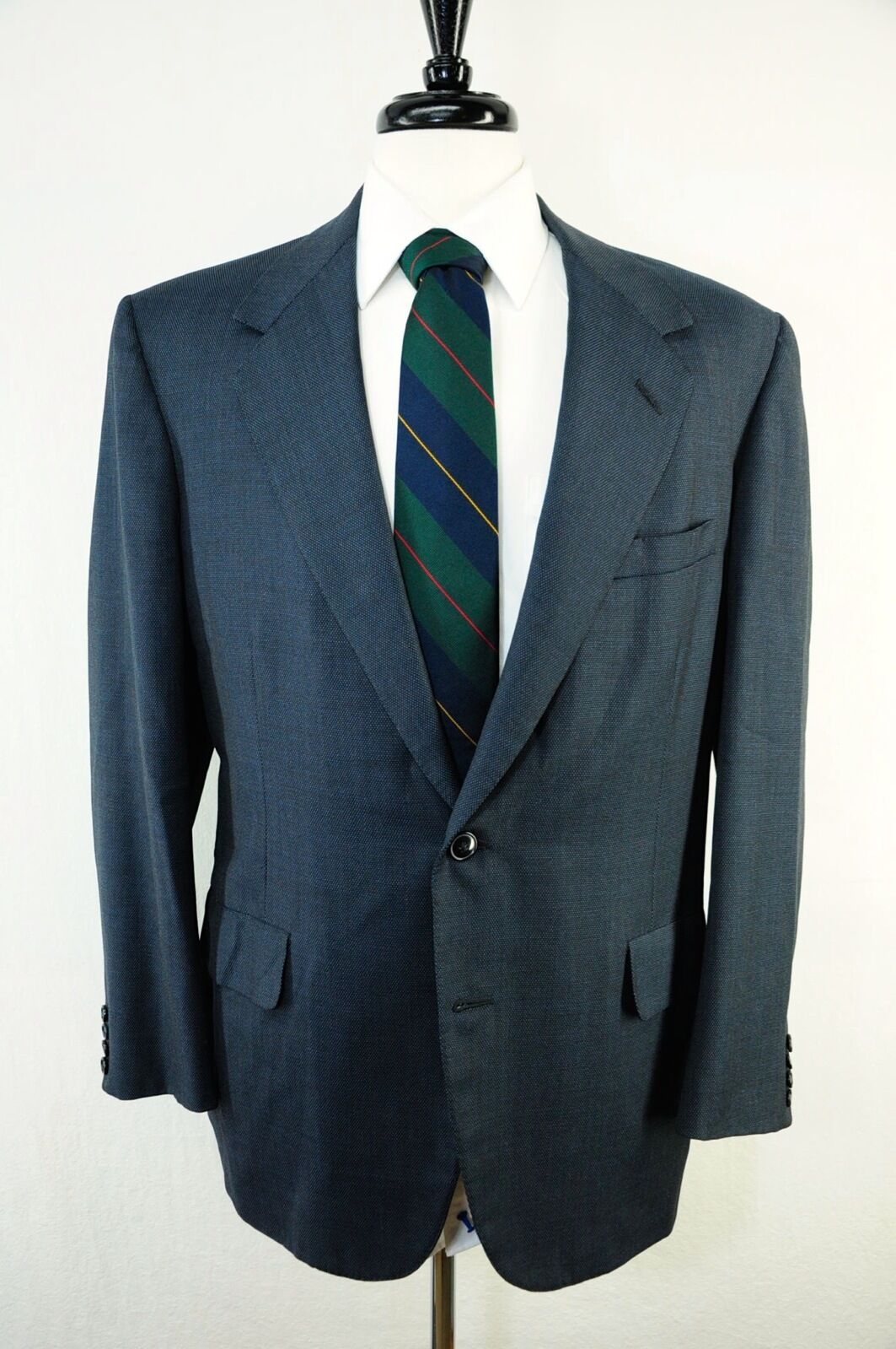 Oxxford Clothes Super Worsted Mansion Wool Navy bluee Sport Coat Blazer 42R