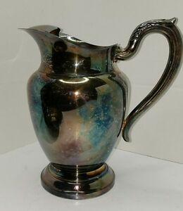 Antique-WM-A-ROGERS-ONEIDA-Silverplate-Pitcher-Jug-Silver-Plate-Server-Vintage
