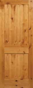 2 Panel Flat Shaker Knotty Alder Stain Grade Solid Core Interior Wood Door Doors Ebay