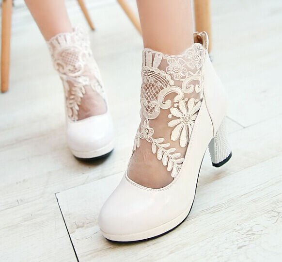 2015 Womens High Heels Sexy Mesh Lace Ankle Boots Spring Wedding shoes Plus Size