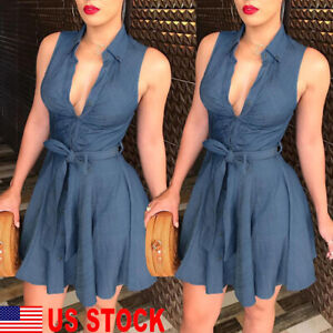 Women-Summer-Bodycon-Denim-sleeveless-Short-Dress-Party-Evening-Mini-Dress-US