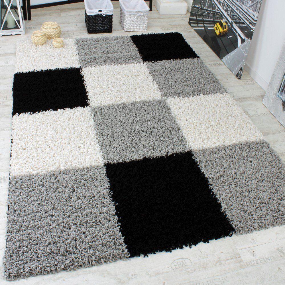 Tappeto moderno geometrico nero bianco grigio tappeto in salotto NUOVO Tappeto morbido Shaggy