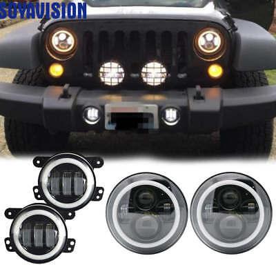 LED Halo Headlights /& LED Fog Light DRL Combo Kit For Jeep Wrangler JK 2007-2017