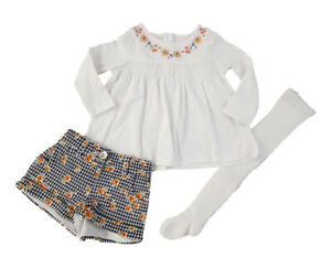 White Floral Blouse,Shorts /& Pink Tights Outfit from Next Age 12-18 Months BMWT