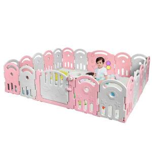 20-Panel Baby Playpen Kids Activity Center Home w/Music Box & Basketball Hoop