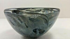 Kosta Boda Small Gray Swirl Bowl Art Deco Signed 1742