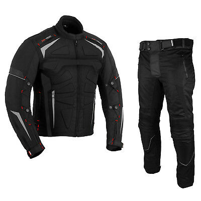 MOTORCYCLE MOTORBIKE ARMOUR PROTECTION RACING 2 PIECE TEXTILE WATERPROOF SUIT
