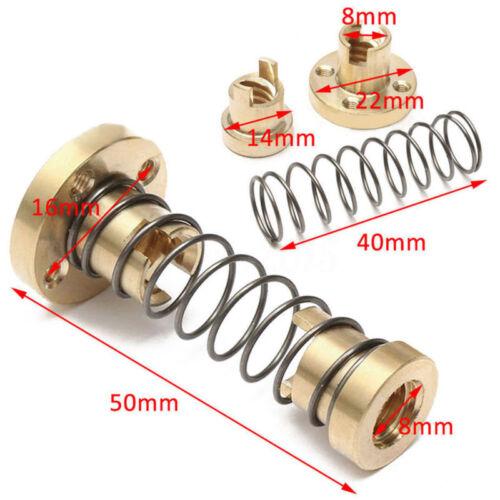 8mm Lead Screw T8 2mm Pitch Brass Nut Anti-backlash Shaft Screw Rod 3D Printer