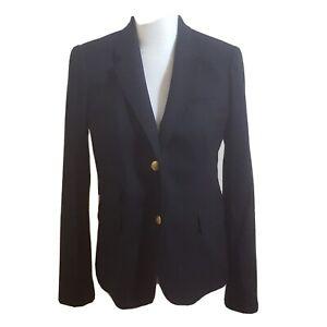 J-crew-Womens-Size-8-Black-Schoolboy-Blazer-Gold-Buttons