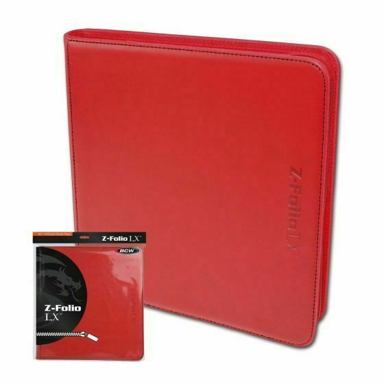 BCW Red Z-folio LX Leatherette 12-pocket ZIPPER Binder