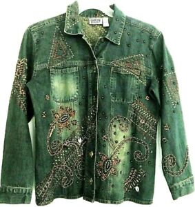 Vtg-Chicos-Design-Embroidered-Beaded-Shell-Denim-Button-Down-Shirt-Jacket-Size-1