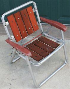 Vintage Child Size Chair Redwood Wood Slats Aluminum Lawn