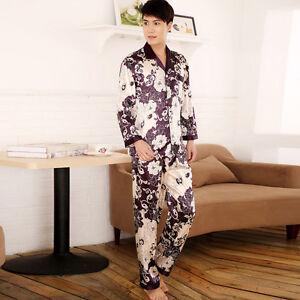 5fee6a621d Details about NWT 2PCS Mens Silk Satin Pajamas Sleepwear Pyjamas PJS Long  Sleeve M004 M L