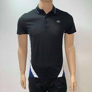 Camisa-de-Tenis-Polo-Lacoste-para-Hombres-Deporte-Negro-Azul-Blanco-Poliester-XS-Small