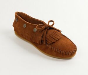 1e53c2d187f Image is loading Minnetonka-Women-039-s-Brown-Leather-Fringed-Moccasin-