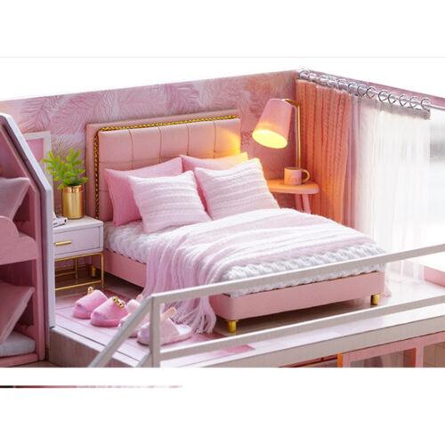 1//24 Holz DIY Dollhouse Kit einfach das Schlafzimmer rosa w LED-Licht