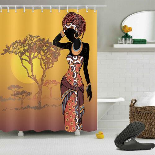 AFRO African American woman Tissu rideau de douche Crochets 180 cm salle de bain rideaux