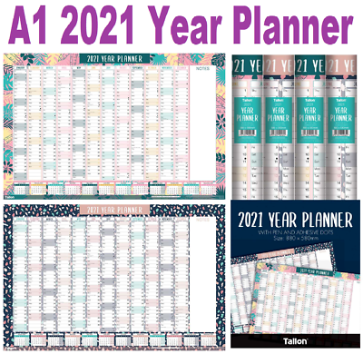2021 Large Yearly Planner A1 Size Wall Calendar Year to ...