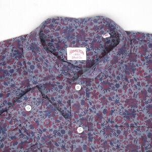 Hamilton Chemise Co Hommes M Bleu Rouge Imprimé Floral Col Italien Bouton Coton