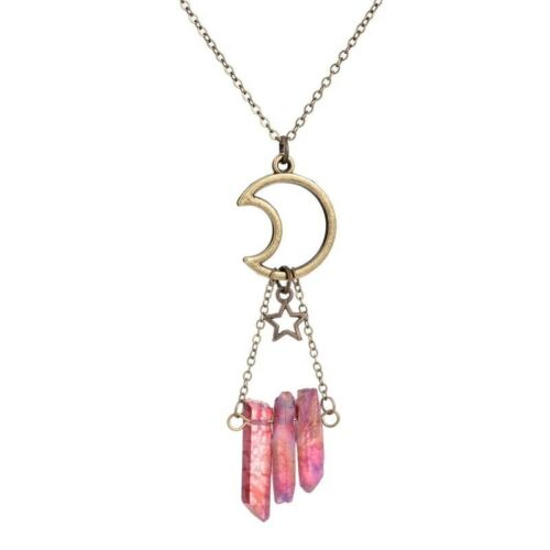 Collar De Cuarzo Cristal Raw Aura áspero Chakra Gota Colgante Luna /& Estrellas de Bronce