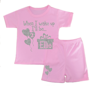 Personalised When I Wake Up Two Shorts Pyjamas Girl/'s Pjs Birthday Gifts Glitter