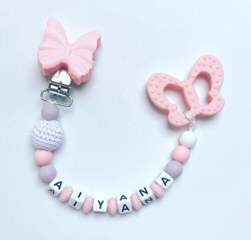 Cadena para chupete beißkette con nombres Nombre de deseos de silicona mariposa rosa lilas