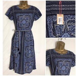 White-Stuff-Indian-Summer-Blue-Print-Linen-Mix-Jersey-Dress-8-14-18-ws-68h