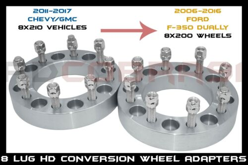 """2/"""" FAST SHIPPING PAIR OF 8X210 TO FORD 8X200 WHEELS CONVERSION WHEEL SPACERS"""