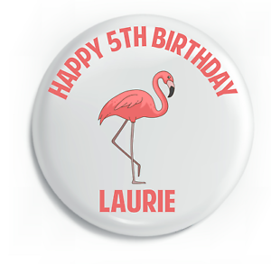 Personalised Flamingo Pretty Kids Birthday Metal Pin Badge